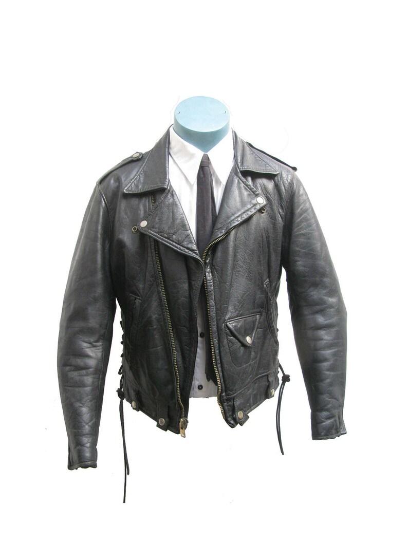 90790b23d134f Vintage Golden Bear Motorcycle Jacket Mens 1970s Black Leather