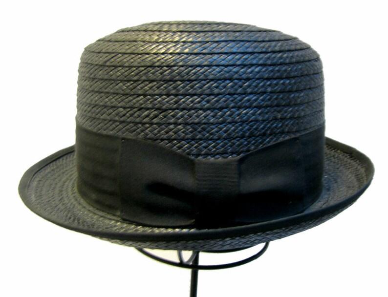 7039b7ba20830 Mens 1960s Vintage Hat Black Straw Pennys Marathon Stingy Brim