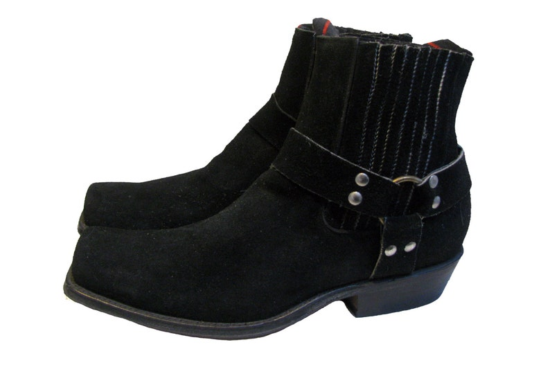 18acdf4ef06 Vintage NaNa Harness Boots Mens Black Suede Ankle High Motorcycle Boots Mns  Size 13