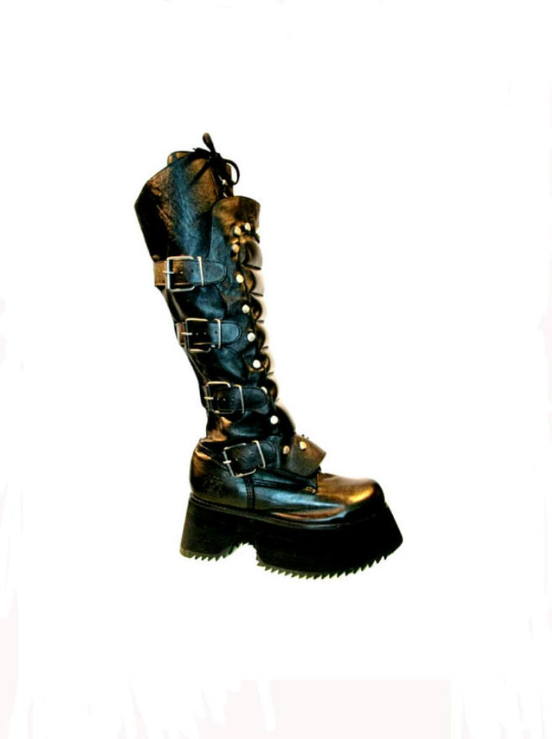 Mens Muro Platform Boots Vintage Black Leather Cyber image 0