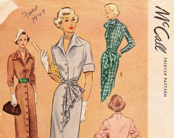 SZ 14/Bust 32 - Vintage 1940s Dress Pattern - McCall's 7750 -  Misses' Button Front Dress with Raised Flared Collar and Belted Drape - Uncut