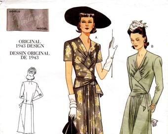 Sz 12/14/16 - Vogue Dress Pattern V2876 - Misses' Fitted Bodice, A-Line, Gathered Front Dress - Vogue Vintage Model 1948 Dress - Uncut