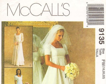 Size 18/20/22 - Vintage 90s McCall's Pattern 9135 by ALICYN EXCLUSIVES - Misses' Empire, Square Neckline Wedding Dress or Bridesmaid Dress