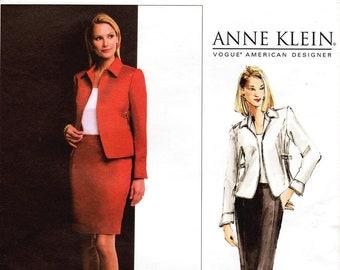 Sz 12/14/16 - Vogue Suit Pattern V2808 by ANNE KLEIN - Misses' Topstitched, Side-Cinched Jacket & Straight Skirt - Vogue American Designer