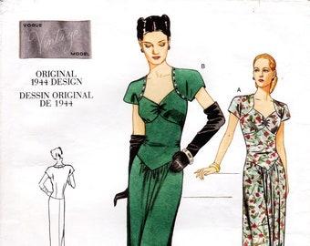 Sz 6/8/10 - Vogue Dress Pattern V2858 - Misses' Sweetheart Neckline, Dropped Waist Dress - Vogue Vintage Model 1944 Design - Vogue Patterns