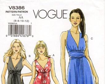 Pick Your Size - Vogue Dress Pattern V8386 - Misses' Sleeveless V-Neck Flared Dress in Three Variations - Vogue Patterns