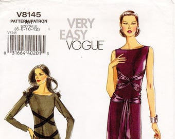 Sz 6/8/10/12 - Vogue Dress Pattern V8145 - Misses' Flared, Bateau Neckline Dress with Waist Ties in Two Variations - Very Easy Vogue