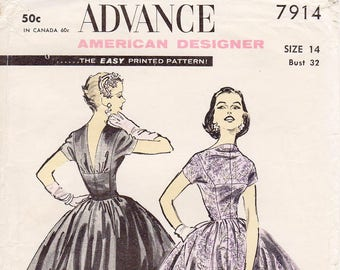 """SZ 14/Bust 32"""" - Vintage 50s Dress Pattern by ANNE FOGARTY - Advance 7786 -  Misses' Wide Circle Skirt and Blouse in Two Variations - Uncut"""