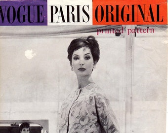 "SZ 14/Bust 34"" - Vintage 50s Dress Pattern - Vogue Dress Pattern 1423 by NINA RICCI  -  Misses' Tank Dress with Side Draped Skirt and Jacket"