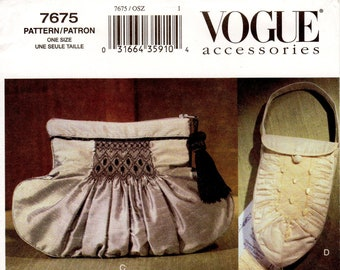 Vogue Handbag Pattern 7675 by TERESA LAYMAN - Misses' Smocked and Beaded/Embellished Handbags in Four Options - Vogue Accessories Pattern