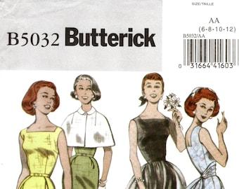 Pick Your Size - Butterick Retro Dress Pattern B5032 - 1952 Style Dress, Capelet, Overskirt, Cummerbund Sash and Belt - Butterick Patterns