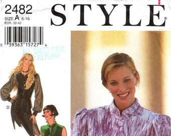 Sz 6 thru 16 - Style Blouse Pattern 2482 -  Misses' Button Front, Princess Seam Blouse in Four Variations - Optional Raised Collar/Sleeves
