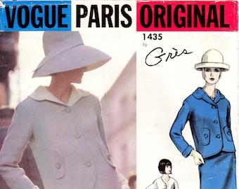 Sz 14 - Vtg Vogue Pattern 1435 by GRES - Misses' Suit - Petal Collar Jacket, Skirt and Button Front Blouse - Rare 60's Vogue Paris Original