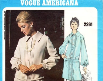 Sz 12 - Vtg 60's Vogue Dress Pattern 2261 by CHESTER WEINBERG - Misses' Button Front, Drop Waist Dress with Pin Tucks - Vogue Americana