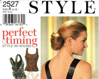 Sz 6/8/10/12/14/16 - Style Top Pattern 2527 -  Misses' Fitted, Back Strap, Evening Tops in Four Variations - Style Patterns