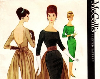 Sz 16/Bust 36 - Vtg 60's Dress Pattern:  McCall's 5588 by PAULINE TRIGERE - Misses' Fitted Sheath Dress in 2 Lengths with Draped Sash