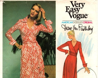 Sz 12 - Vogue Pattern 1549 by DIANE VON FURSTENBERG - Misses' The Iconic Wrap Dress in Two Variations - Rare 60's Vogue Designer Original