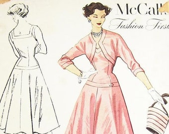 """SZ 14/Bust 32"""" - Vintage 1950s Dress Pattern - McCalls 9285 - Misses' Fit and Flare, Dropped Waist Tank Dress and Bolero Jacket"""