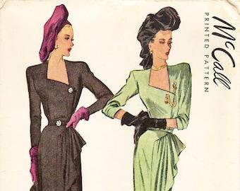 "SZ 14/Bust 32"" - Vintage 1940s Dress Pattern - McCall 6714 -  Misses' Misses' Asymmetrical Neckline Dress with Side Draped Skirt"
