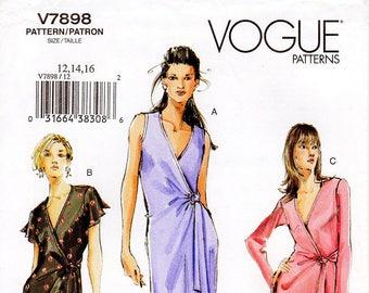 Sz 12/14/16 - Vogue Dress Pattern V7898 - Misses' Close-Fitting, Asymmetrical Wrap Dress in Two Lengths - Vogue Patterns
