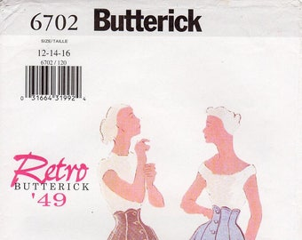 SZ 12/14/16 - Uncut Butterick 6702 - Misses' Scalloped Shaped, High-Waisted, Button Front Skirt - Butterick Retro 1949 Reissued Pattern
