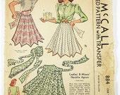 Vintage 40s Apron Pattern - McCall 884 - Misses' Necktie Apron -  One Size Pattern