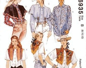 Sz 8/10/12 - McCall's Shirt Pattern 6935 - Misses' Western Shirts and Detachable Capes