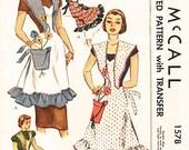Vintage 50s Apron Pattern - Uncut McCalls 1578 - Misses' Bib  Apron with Flower Pot Pocket - One Size Pattern