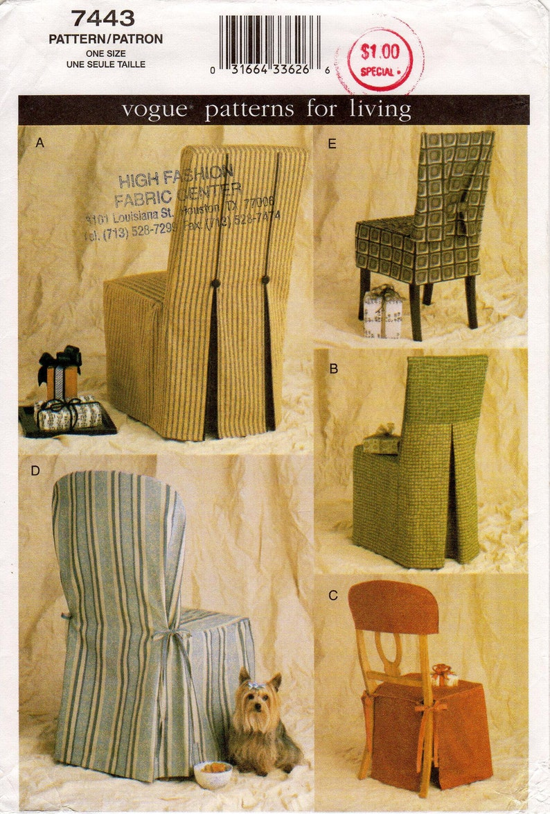 Vogue Home Decor Pattern 7443 Diy Chair Covers Fitted Chair Back Seat Covers Embellished With Piping Pleating And Ties One Size