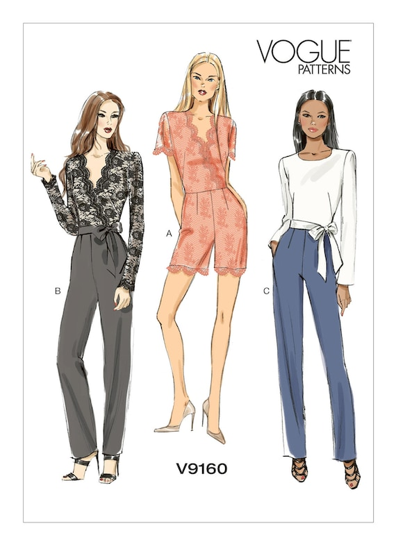 Vogue Sewing Pattern V9245 Women/'s Misses/' Petite Button-Up Jumpsuits And Sash