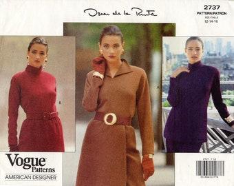 Sz 8/10/12 - Vogue Top Pattern 2737 by OSCAR de la RENTA - Misses' Knit Top with Neckline and Collar Variations - Vogue American Designer