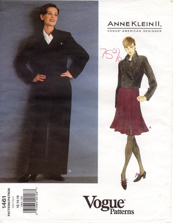 Sz 12/14/16 - Vogue Separates Pattern 1461 by Anne KLEIN - Misses' Cropped,  Double-Breasted Jacket, Skirt & Pants - Vogue American Designer