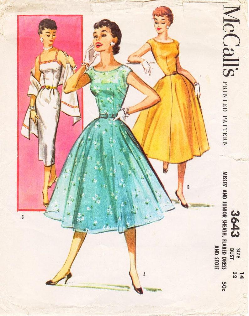 ea743dcf2a9 SZ 14 Bust 32 Vintage 1950s Dress Pattern McCall s
