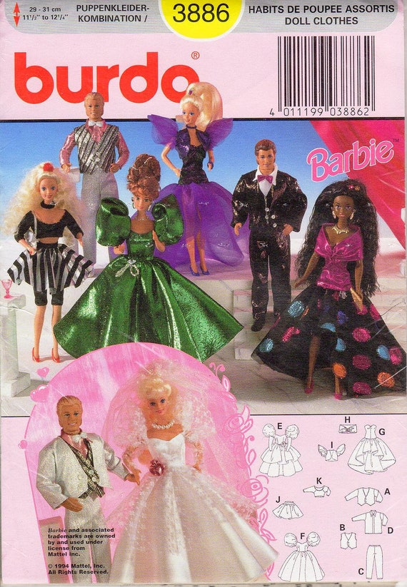 Burda-Schnittmuster 3886 Barbie und Ken Puppe Kleidung   Etsy