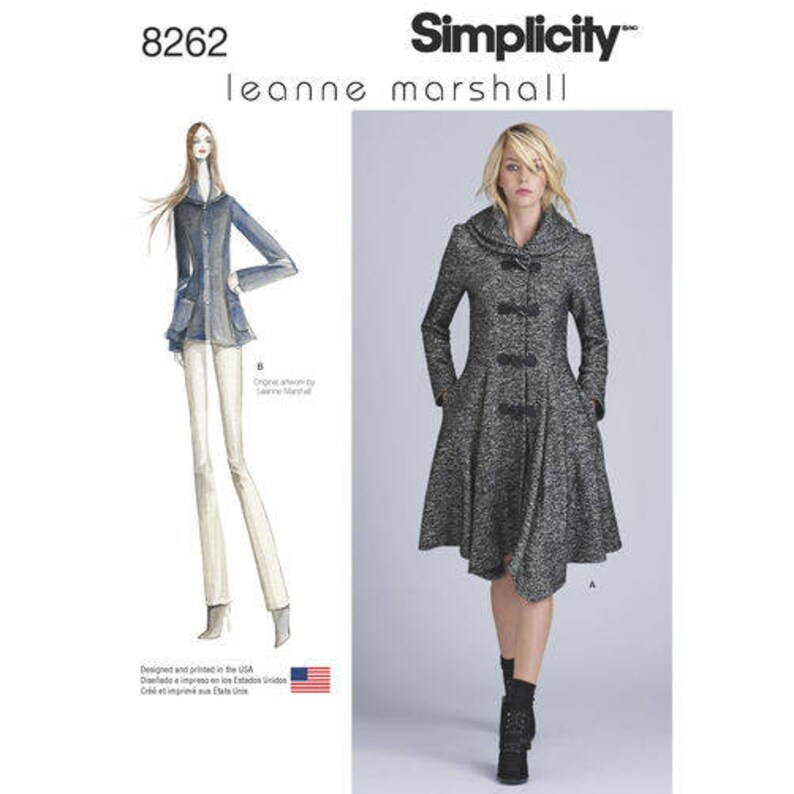 756dadf12 Sz 4/6/8/10/12 - Simplicity Coat Pattern D0550/8262 by LEANNE MARSHALL -  Misses' Lined Peplum Coat or Jacket - Simplicity Patterns