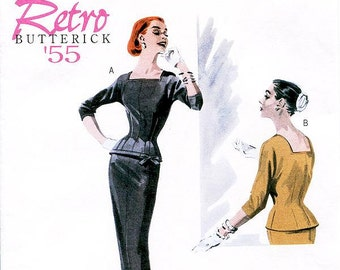 Pick Your Size - Misses' Fitted Top and Slip Pencil Skirt - Retro Butterick '55 Dress Pattern B5557