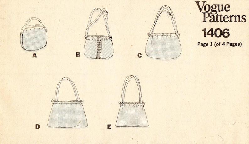 Vogue Patterns Misses/' Handbags in Five Variations Vintage Vogue Handbag Pattern 1406 Wooden Handle Handbag or ShoulderTote Bags