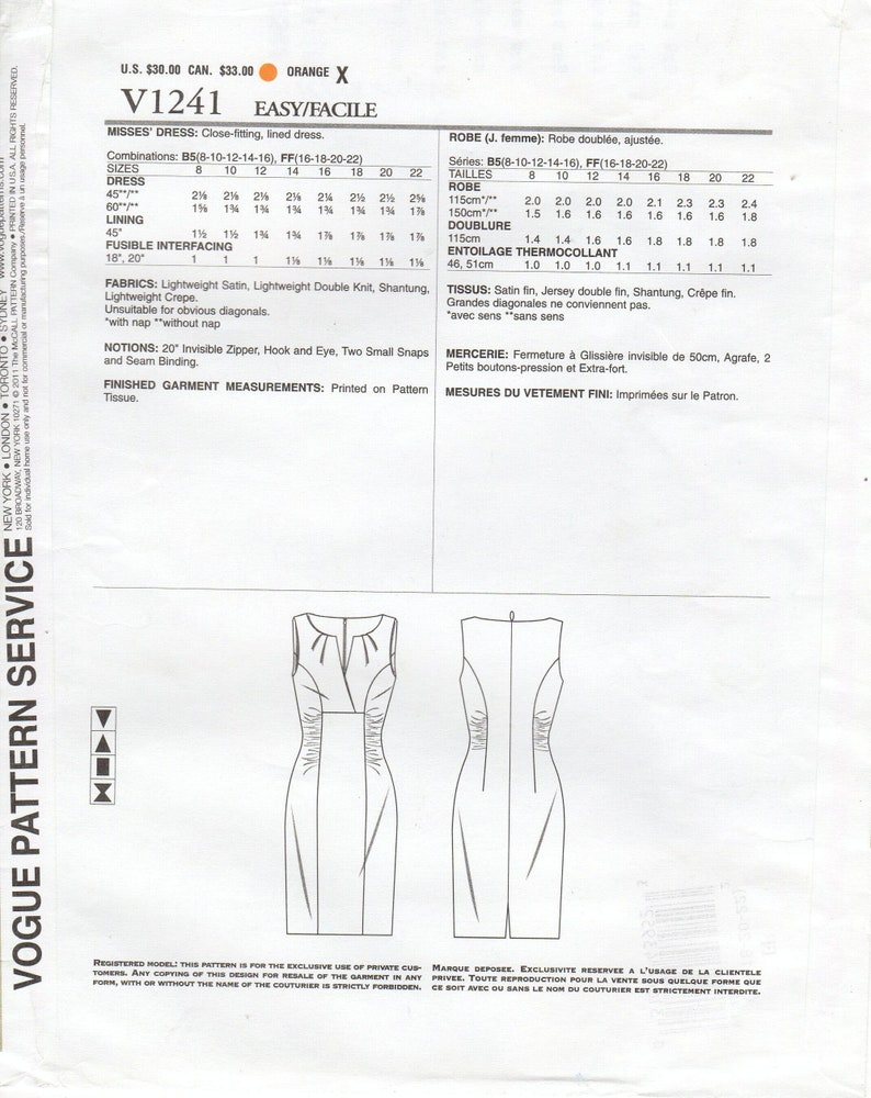 Pick Your Size Misses/' Fitted Lined Dress with Neckline Pleats /& Side Ruching Vogue Patterns Vogue Dress Pattern V1241  by KAY UNGER