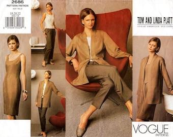Sz 20/22/24 - Vogue Separates Pattern 2686 by TOM & LINDA PLATT - Misses' Jacket, Dress or Top and Pants  - Vogue American Designer Pattern