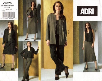 Sz 6/8/10 - Vogue Separates Pattern V2875 by ADRI - Misses' Loose Fitting Jacket, Tank Top, A-Line Skirt & Tapered Pants - Vogue Patterns