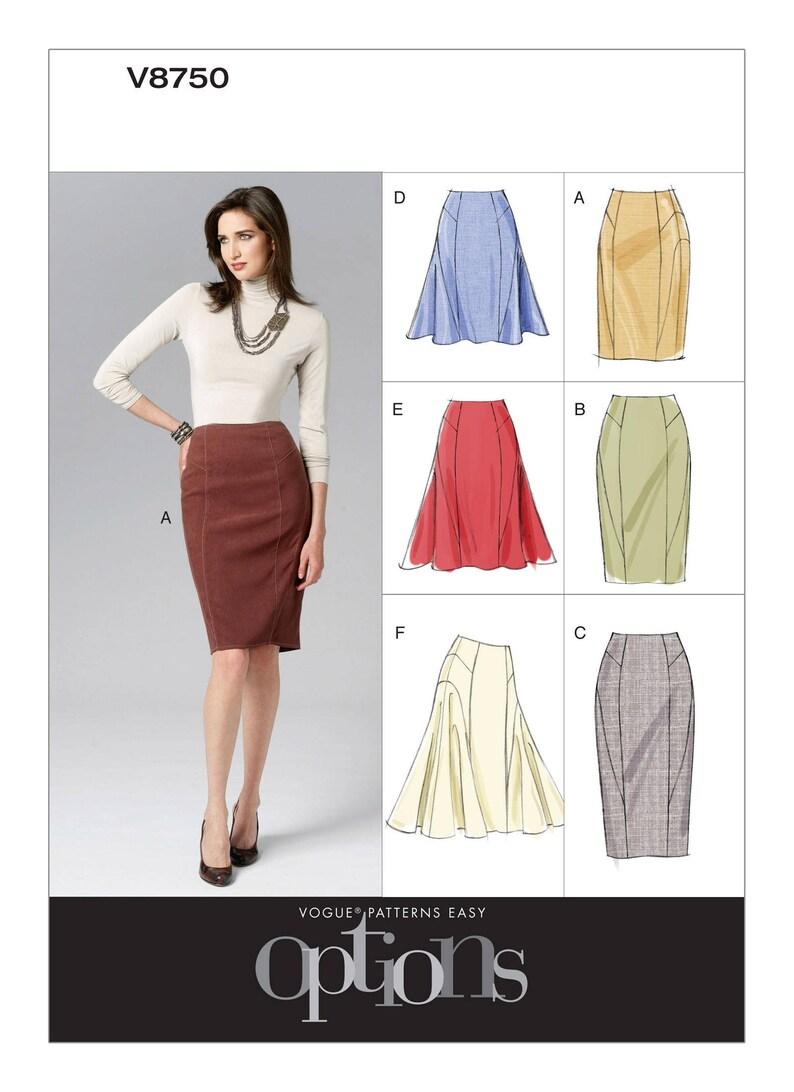 2eb6ed66100 Pick Your Size - Vogue Skirt Pattern V8750 - Misses  Side-Flare or Pencil Sk...  Pick Your Size - Vogue Skirt Pattern V8750 - Misses  Side-Flare or Pencil  ...