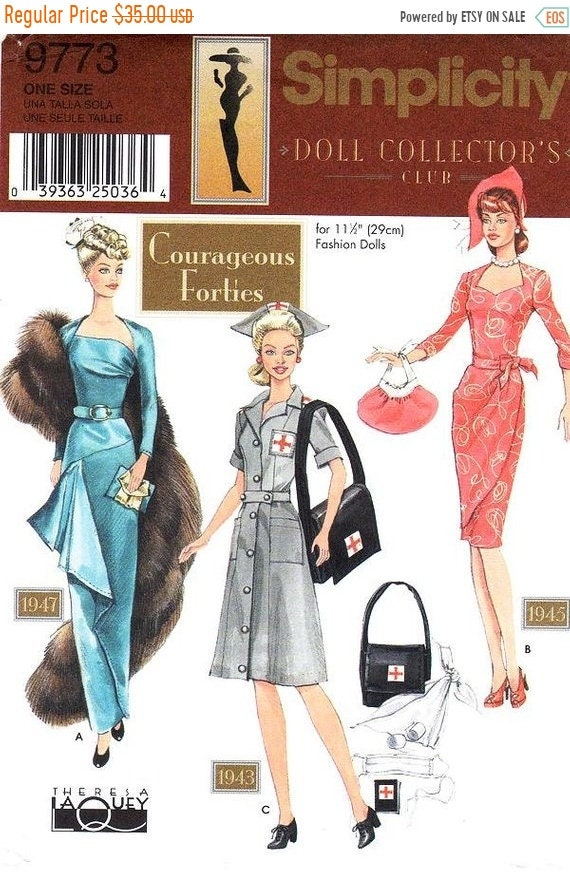 On Sale Simplicity Sewing Pattern 9773 - Courageous Forties Doll ...