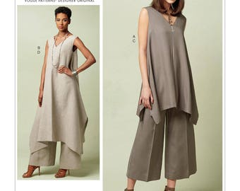Pick Your Size - Vogue Pattern V1550 by PACO PERALTA - Misses' Pullover Tunic with Uneven Hem and Wide-Leg Pants - Vogue Designer Original