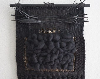 AFFIRMATIONS // Light in Darkness // Black Wool Weaving Wall Hanging