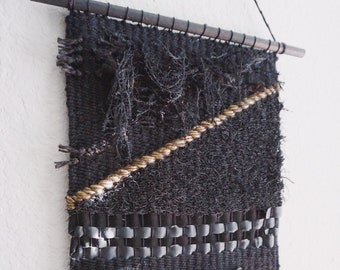 AFFIRMATIONS // The Battle // Black Wool Leather Weaving Wall Hanging