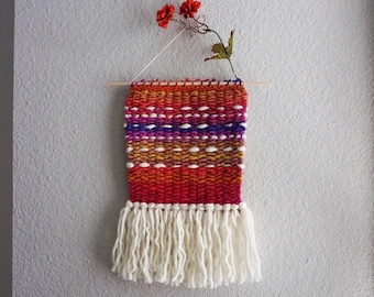 HAPPY // Ombre Rainbow Wall Hanging Tapestry Weaving
