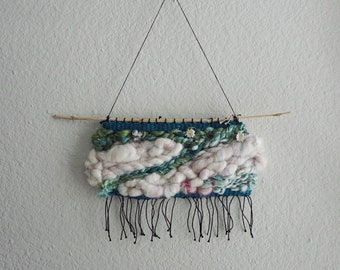 014 // A Winter's Pond // Green Wool Weaving Wall Hanging