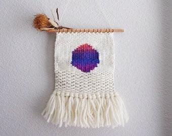 SOFT SUN // Circle Minimalist Woven Wool Wall Weaving // wool tapestry