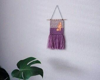011 // Small Minimalist Woven Wool Wall Weaving // copper foil weaving