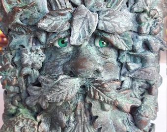 GREEN MAN Trinket Box Jewelry Box - polymer clay covered storage box - Cernunnos / Forest Keeper / Pagan Diety